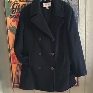 TALBOTS Women's Wool Coat Size 16 Classic Black